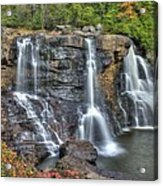When Light And Water Falls-2a Three Cascades Over Blackwater Falls State Park Wv Autumn Mid-morning Acrylic Print