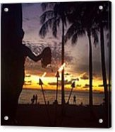 When The Night Come Sunset At The Beach Acrylic Print