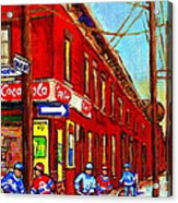 When We Were Young - Hockey Game At Piche's - Montreal Memories Of Goosevillage Acrylic Print