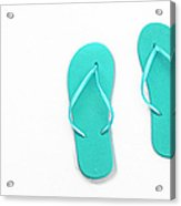Where On Earth Is Spring - My Aqua Flip Flops Are Waiting Acrylic Print by Andee Design