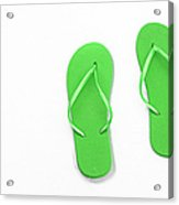 Where On Earth Is Spring - My Green Flip Flops Are Waiting Acrylic Print by Andee Design