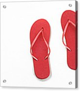 Where On Earth Is Spring - My Red Flip Flops Are Waiting Acrylic Print by Andee Design
