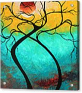 Whimsical Abstract Tree Landscape With Moon Twisting Love IIi By Megan Duncanson Acrylic Print