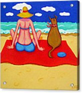Whimsical Beach Seashore Woman And Dog Acrylic Print