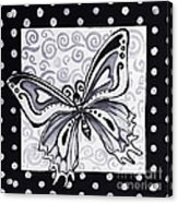 Whimsical Black And White Butterfly Original Painting Decorative Contemporary Art By Madart Studios Acrylic Print