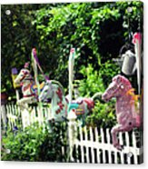 Whimsical Carousel Horse Fence Acrylic Print