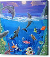 Whimsical Original Painting Undersea World Tropical Sea Life Art By Madart Acrylic Print