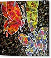 Whimsical Painting- Colorful Butterflies Acrylic Print