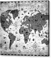 Whimsical World Map Bw Acrylic Print