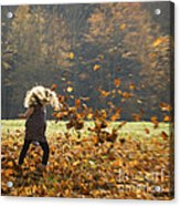 Whirling With Leaves Acrylic Print