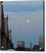 Whispy Clouds And A Moon Acrylic Print