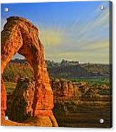 Whispy Clouds Over Delicate Arch Acrylic Print