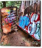 Whistler Train Wreck Covered In Graffiti Acrylic Print