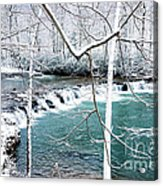Whitaker Falls In Winter Acrylic Print by Thomas R Fletcher