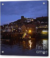 Whitby Lower Harbour And The Rnli Lifeboat Station At Night Acrylic Print