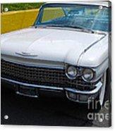 White 1960 Caddy Acrylic Print