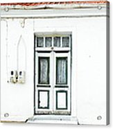 White And Green Door Acrylic Print