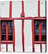 White And Red Half-timbered House Detail Acrylic Print