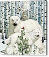 White Animals Red Bird Acrylic Print
