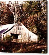 White Barn In Autumn Acrylic Print