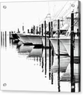 White Boats II - Outer Banks Bw Acrylic Print by Dan Carmichael