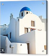 White Buildings And Blue Church In Oia Santorini Greece Acrylic Print by Matteo Colombo