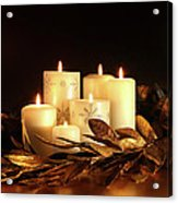 White Candles With Gold Leaf Garland  Acrylic Print