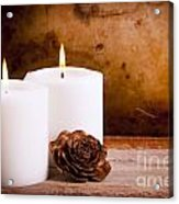 White Candles With Rose Acrylic Print
