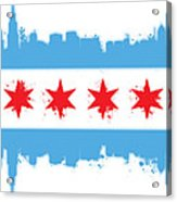 White Chicago Flag Acrylic Print by Mike Maher
