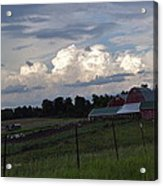 White Clouds Over The Farm Acrylic Print