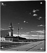 White Country Chuch And Road Acrylic Print