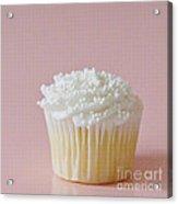 White Cupcake On Pink Acrylic Print