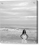 White Dress Acrylic Print by Thomas Leon