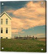 White Farmhouse And Corral Acrylic Print