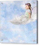 White Feather Dream Acrylic Print by Cindy Singleton