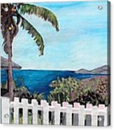 White Fence At English Harbour Antigua West Indies Acrylic Print