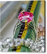 White Gold Ring With Ruby  Acrylic Print