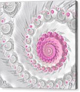 White Grey And Pink Fractal Spiral Art Acrylic Print