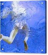 White Hair Blue Water Acrylic Print by Dietrich ralph  Katz