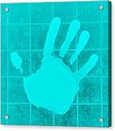 White Hand Aquamarine Acrylic Print