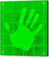 White Hand Green Acrylic Print