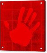White Hand Red Acrylic Print