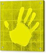 White Hand Yellow Acrylic Print