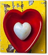 White Heart Red Heart Acrylic Print