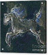 White Horse Minature Painting Acrylic Print