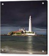 White Lighthouse Illuminated By Acrylic Print
