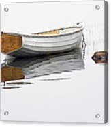 White Maine Boat On A Foggy Morning Acrylic Print