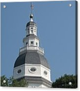 White Maryland State House Cupola Against Blue - Annapolis Acrylic Print