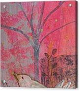White Peace Bird On Pink Acrylic Print