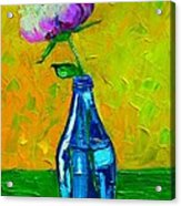 White Peony Into A Blue Bottle Acrylic Print
